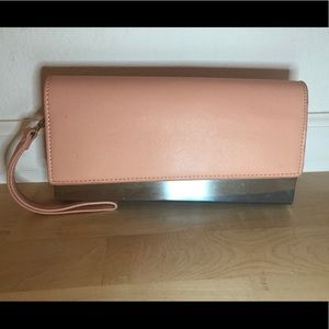 JustFab light pink clutch with silver details